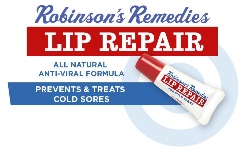 Robinson's Remedies Lip Repair - All Natural Anti-Viral Formula - Prevents & Treats Cold Sores