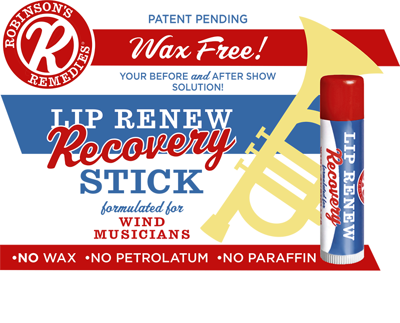 Robinson's Remedies Lip Renew Recovery Stick - Formulated For Wind Musicians - Wax Free! Your Before and After Show Solution!